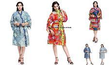 Indian Cotton Block Printed Kimono Robe Women Gown Hippie Nightwear Bath Robes