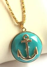 """Gold Anchor Necklace Aqua Plated Nautical Boat Island Beach Sailing 20"""" USSeller"""