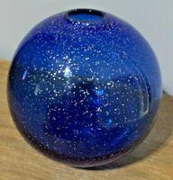 Vintage Hand Blown Cobalt Blue Art Glass Vase With Silver Flakes - RARE