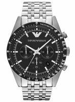 Emporio Armani AR5988 Men's Sportivo Chronograph Black Dial Stainless Band Watch