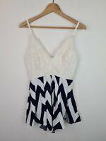 Miracle White & Blue Crochet Zig Zag Playsuit Romper Jumpsuit Women's Size 8