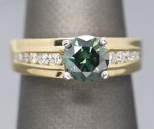 Handcrafted 1.57ctw Green and White Diamond Engagement Ring 18k