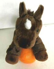 "Aurora  Horse Stuffed Animal Plush Dark Brown White Spot Head 8"""