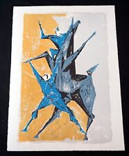 """1959 Swiss Litho Print 40/150 """"Clowns et Cheval"""" by Remo Rossi (1909-1982) (Mod)"""