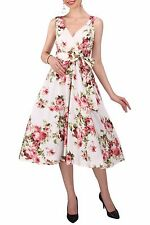 Ladies Dress 50's Prom Swing Vintage Rockabilly Party Floral Size 20 - 28 22 Cream