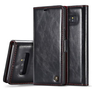 Samsung Galaxy Note 10+,10, 9, 8,7  Executive Magnetic Leather Wallet Cover Case