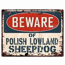 Ppdg0042 Beware of Polish Lowland Sheepdog Plate Rustic Chic Sign Decor Gift