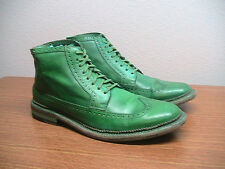 Mens 10.5 M COLE HAAN Green Leather Wing Tip Brogue Detail Ankle Boots, RARE