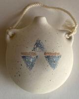 Vintage 1980s Pastel Southwest Pottery Planter Hanging Vase | 1980s Home Decor