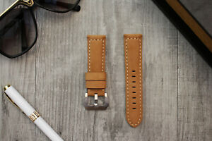 For OFFICINE PANERAI Luminor Marina 24mm Tan Brown Leather Watch Strap Band