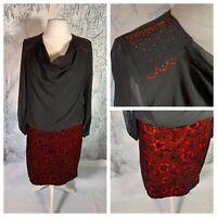 B&Y WOMAN Ladies Black Red Dress Size 20 (48) Metallic Velvet Sheer Top Party