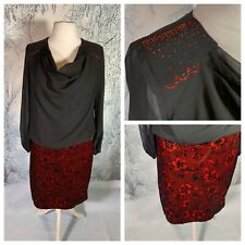 B&Y WOMAN Ladies Black Red Dress Size 20 (48) Metallic Velvet Sheer Top Party