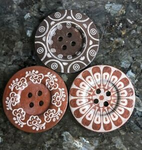3 Extra Large Brown Wooden Buttons with Boho Designs 60mm 6cm