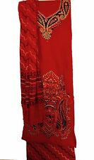 Traditional Red Cotton Suit Unstitched with Beautiful Thread work