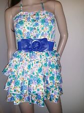 Womens Floral Print Ruffle Halter Belted Babydoll Dress, Small