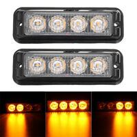 2x 4 LED Car Strobe Yellow Amber Grill Breakdown Flash Emergency Warning Light