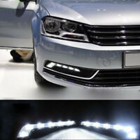 2Pcs White 6 LED Daytime Running Light DRL Car Auto Driving Front Fog Light Lamp