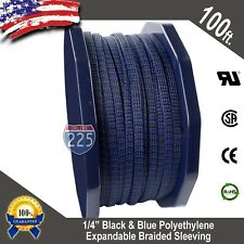 "100 Ft 1/4"" Blue & Black Expandable Wire Sleeving Sheathing Braided Loom Tubing"
