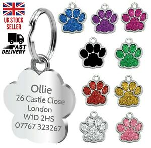 Engraved Dog Tag Personalised ID Tags Name Disc Pet Cat Tags Animal Cat Collar