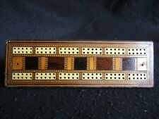 ART DECO HAND-MADE INLAID MARQUETRY CRIBBAGE BOARD SLIDE APERTURE PEGS c.1930's