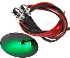 2x 12V 6mm Car Panel Indicator Lamp Warning Light Green LED Metal Truck Boat