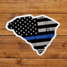 South Carolina Thin Blue Stripe Sticker Decal Police American Flag Tattered USA