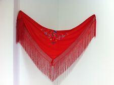 Manton rojo bordado colores disfraz flamenca niña // red shawl flamenco costume