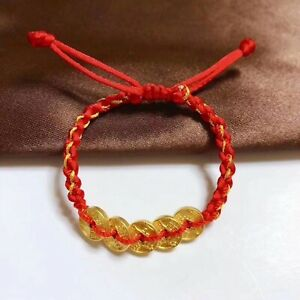 Pure 24K Yellow Gold Bracelet Women 3D Luck Five Coin Red Cord Bracelet 6.3inch