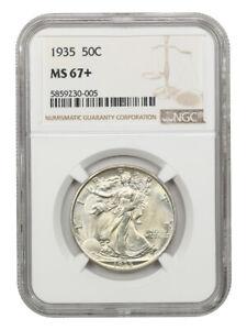 1935 50c NGC MS67+ Premium Gem! - Walking Liberty Half Dollar - Premium Gem!