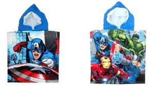 Marvel Avengers Childrens Boys Kids Hooded Poncho Beach Holiday Bath Superheroes