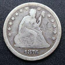 USA 1876 Seated Liberty Quarter Dollar 25 Cent Philadelphia Silber Selten 2728