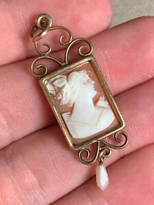 ANTIQUE VICTORIAN GOLD FILLED REAL SHELL CAMEO NECKLACE PENDANT!!