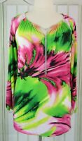 Chelsea & Theodore size XL tunic top ruched keyhole neckline long sleeves