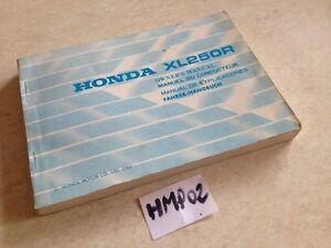 Manual Del Propietario Honda XL250R XLR 250 XL R 250XLR Owner's