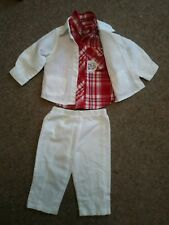 Designer Baby Boys Outfit 6-9 Months White 3pommes Suit Red Checked Boboli Shirt