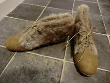 Brown faux fur ankle boots size 7 but would fit 6