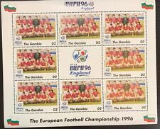 Gambia Euro '96 England Football Championship Stamp- Bulgaria Sheetlet of 9