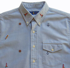 Men's RALPH LAUREN Blue Short Sleeve Yachting Boating S/S Shirt S Small NWT NEW