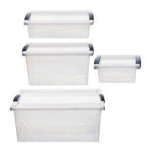 Aufbewahrungsbox + Deckel 4 Größen Kunststoffboxen Box Boxen Kisten Stapelboxen