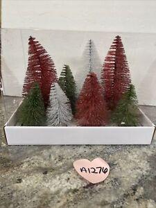 8 Red White Green  Bottlebrush Christmas Village  Trees Valerie Parr Hill