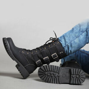 Mens Punk PU Leather Motorcycle Shoes Retro Buckle Lace Up Mid Calf Knight Boots