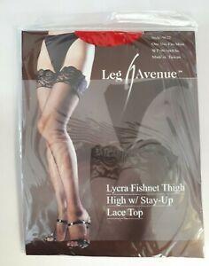 Leg Avenue Women Red Fishnet Hold-Up Stockings Designer Lingerie Hosiery