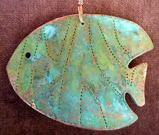 TROPICAL FISH Left Copper Verdigris Christmas Ornament Handcrafted Beach Ocean