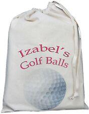 PERSONALISED - GOLF BALLS BAG - SMALL NATURAL COTTON DRAWSTRING BAG -Pink design