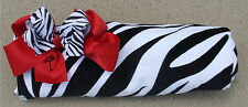 Personalized Zebra Print Beach Towel and Zebra and Red Bow Matching Set