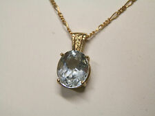 Natural earth-mined soft blue topaz 9 carat solid gold pendant and necklace