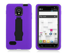 LG Optimus L9 T-Mobile P769 Hybrid Armor Case Skin Cover w/ Stand Purple Black