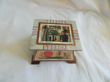 Egyptian Inlaid Pharaoh Papyrus Judgement Isis Nefertari Jewelry Box 4'