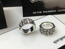 Chrome hearts three-layer cross flower 925 sterling silver ring