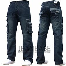 New Mens Designer Enzo Dark Cargo Combat Denim Jeans Pants All Waist & Leg Sizes